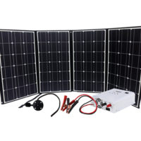 RV Kit – Lightweight Folding 210W Solar Generator Kit w 1500W 3 in 1 Pure Sine Inverter, AC Charger, Charge Controller